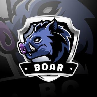 Testa di cinghiale logo gaming esport
