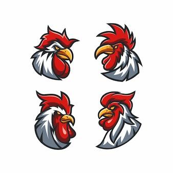 Testa di gallo arrabbiato impostata per avatar