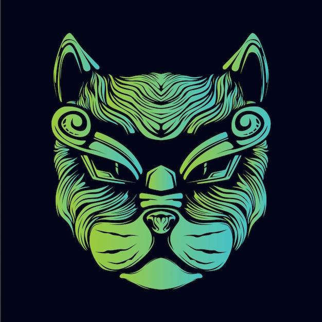 Testa di gatto bagliore verde illustrazione