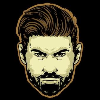 Testa di gentiluomo con barba e baffi