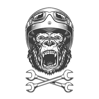Testa di gorilla arrabbiato monocromatico vintage