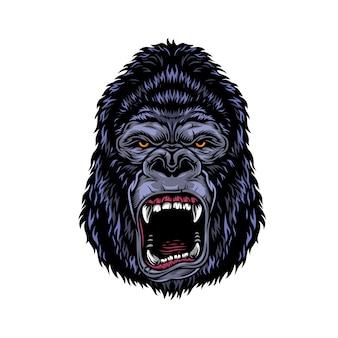 Testa di gorilla arrabbiato pericoloso colorato