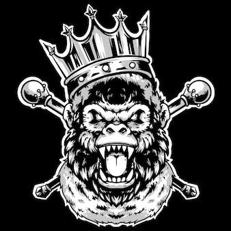 Testa di gorilla re con corona e stecca d'oro disegno mascotte