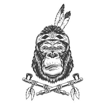 Testa di gorilla serio indiano nativo americano