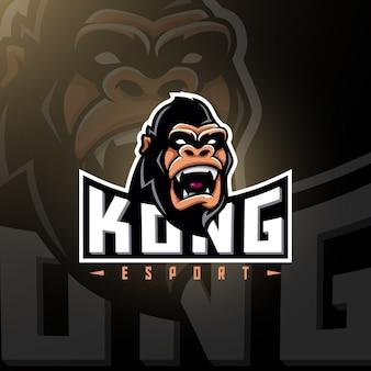 Testa di gorlilla gaming logo esport