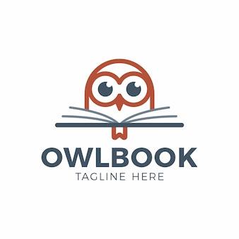 Testa di gufo carino con logo educazione libro