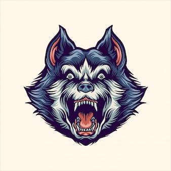 Testa di husky siberiano arrabbiato
