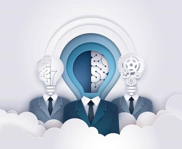 Testa di lampadina di uomo d'affari con ingranaggi cervello e ruota dentata, concetto di pensare per il delopopolamento