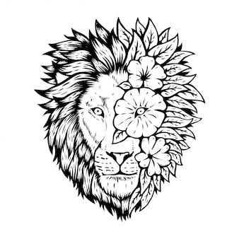 Testa di leone animale con disegno floreale