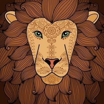 Testa di leone con elementi del tatuaggio all'henné