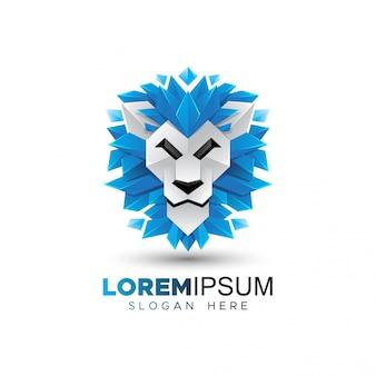 Testa di leone origami logo modello