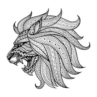 Testa di leone sfondo disegnato a mano