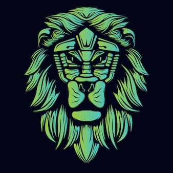 Testa di leone verde incandescente