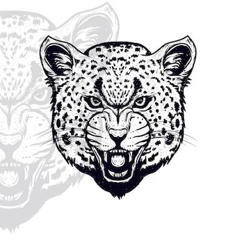 Testa di leopardo furioso illustrazione vettoriale