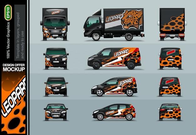 Testa di leopardo in una composizione astratta. offerte di layout per il tuo business.