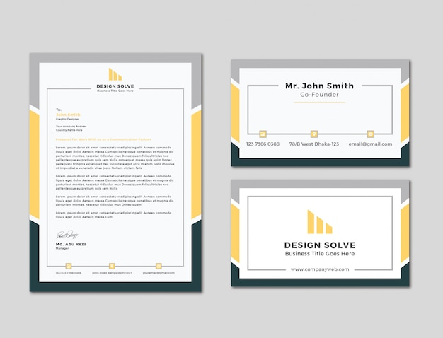 Testa di lettera unica di affari con progettazione di biglietto da visita
