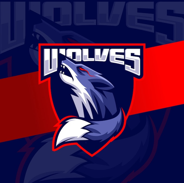 Testa di lupo mascotte esport logo design