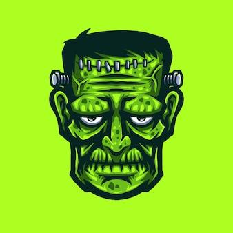 Testa di mostro frankenstein verde raccapricciante. illustrazione disegnata a mano