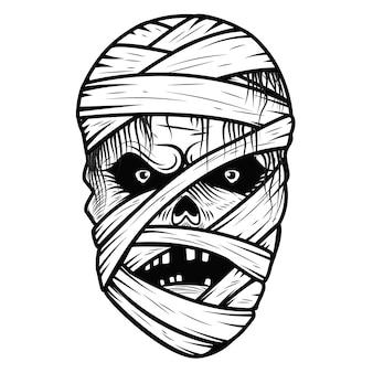Testa di mostro mummia su sfondo bianco. tema di halloween. illustrazione