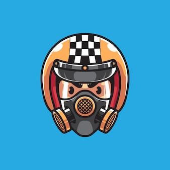 Testa di motociclista con maschera antigas
