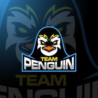 Testa di pinguino gaming logo esport