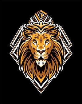 Testa di re leone con distintivo geometrico