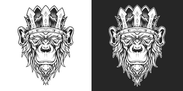 Testa di re scimpanzé logo line art