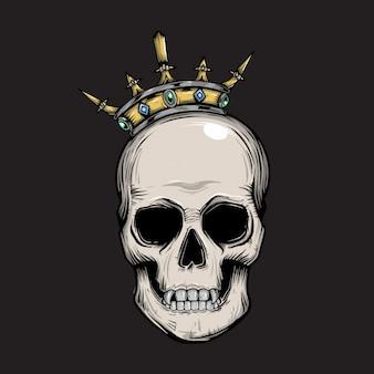 Testa di re teschio con corona