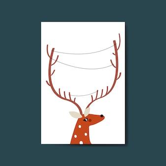 Testa di renna con linee attorno al vettore di corno