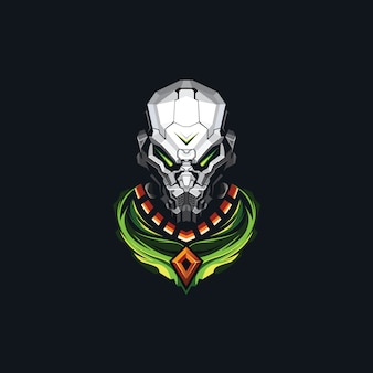 Testa di robot esport logo design