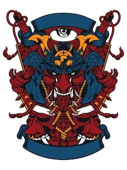 Testa di samurai e due maschere malvagie design line art per abbigliamento o adesivi