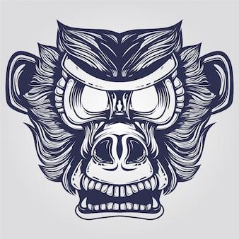 Testa di scimmia pelosa