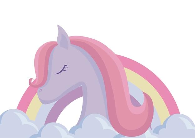 Testa di simpatico animale unicorno con arcobaleno