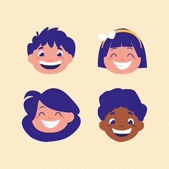 Testa di simpatico personaggio avatar per bambini