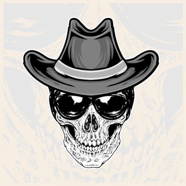 Testa di teschio con occhiali e cappelli da cowboy