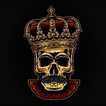 Testa di teschio d'oro con corona di re