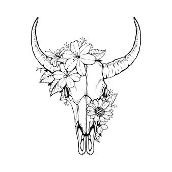 Testa di teschio di toro animale con disegno floreale