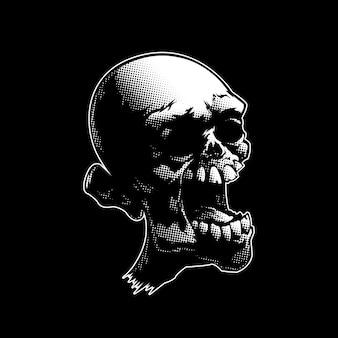 Testa di teschio di zombie inquietante