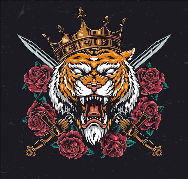 Testa di tigre arrabbiata in corona
