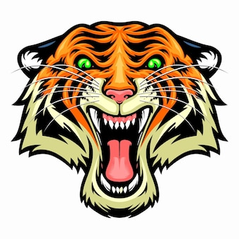 Testa di tigre arrabbiata