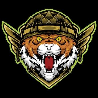 Testa di tigre con logo di mascotte casco di fanteria