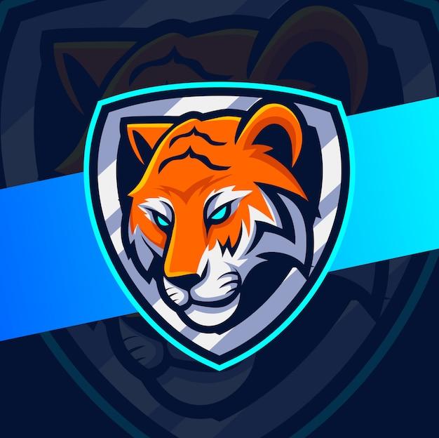 Testa di tigre mascotte esport logo design