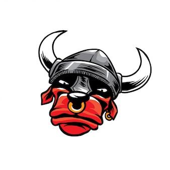 Testa di toro con elmo warior