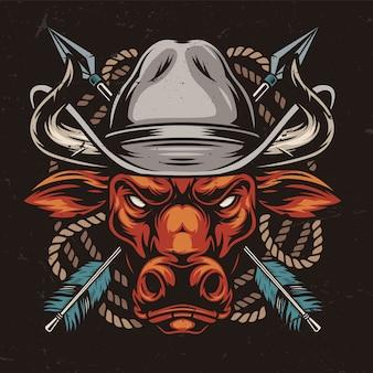 Testa di toro rosso arrabbiato in cappello da cowboy