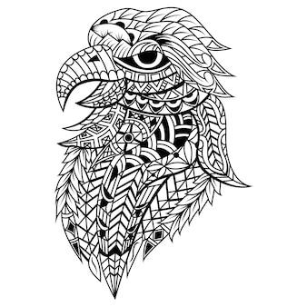 Testa di uccello aquila zentangle stilizzata