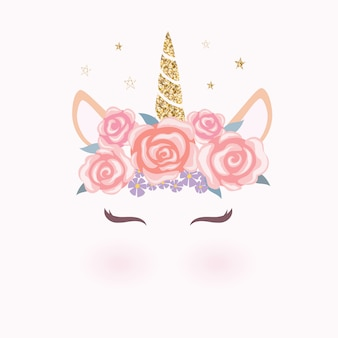 Testa di unicorno carina con corona di fiori.