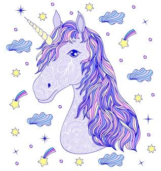 Testa di unicorno disegnato a mano