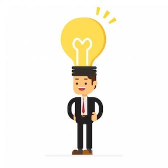 Testa di uomo d'affari della lampadina
