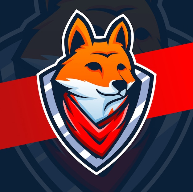 Testa di volpe mascotte esport logo design