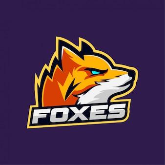 Testa di volpe mascotte gioco logo esport